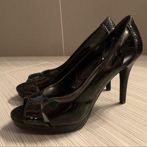 Alfani snakeskin pattern peep toe platforms pumps